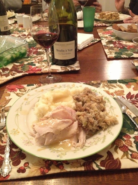 Thanksgiving Dinner and beaujolais