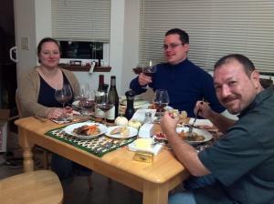 Enjoying wine with family
