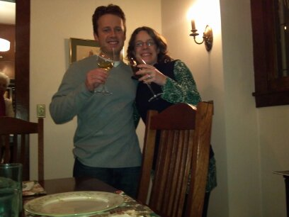 Seth and Me - Enjoying our Wine