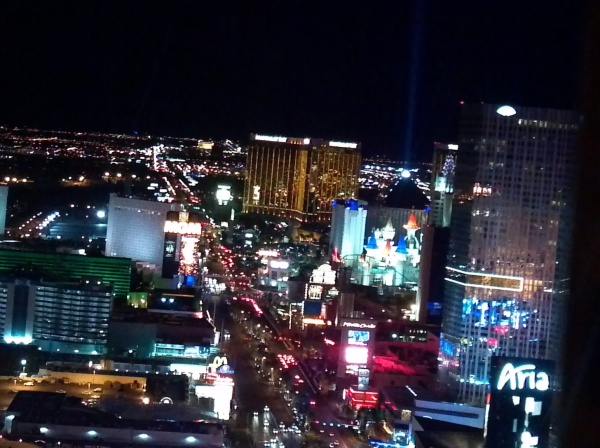 View of the Las Vegas Strip from the Eiffel Tower at the Paris Hotel.
