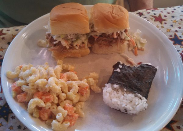Kalua Pork Sliders, Musubi and Macaroni Salad